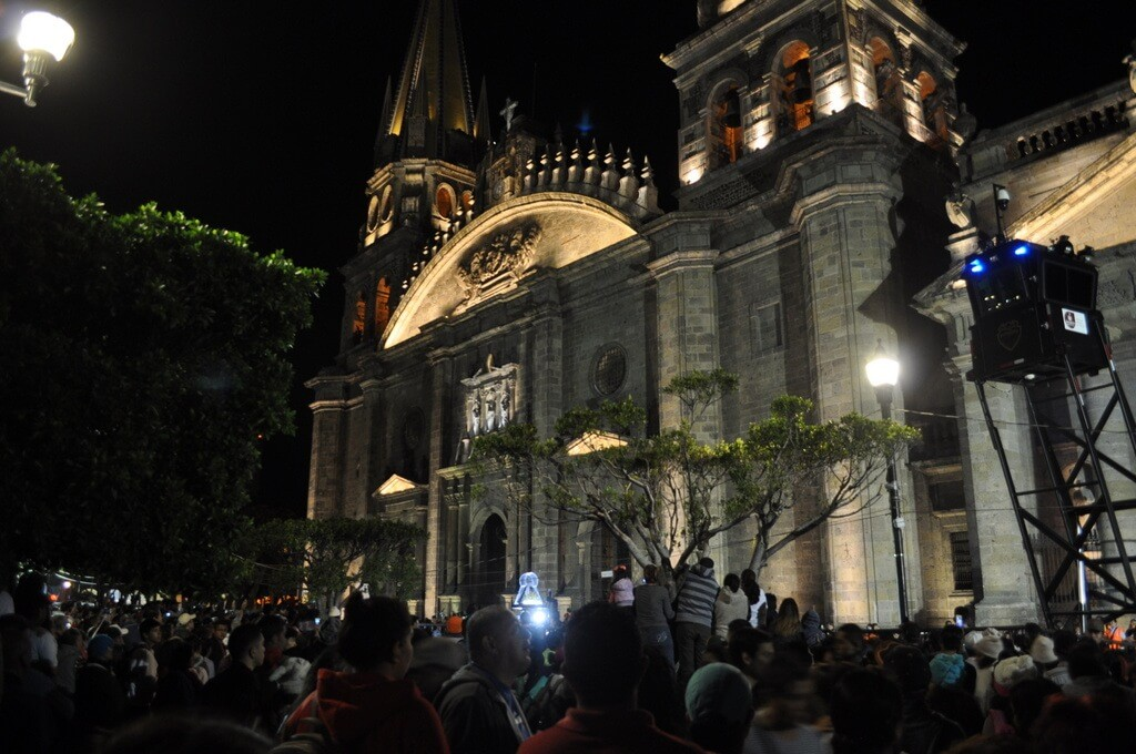 La Virgen de Zapopan leaving the Guadalajara Metropolitan Cathedral