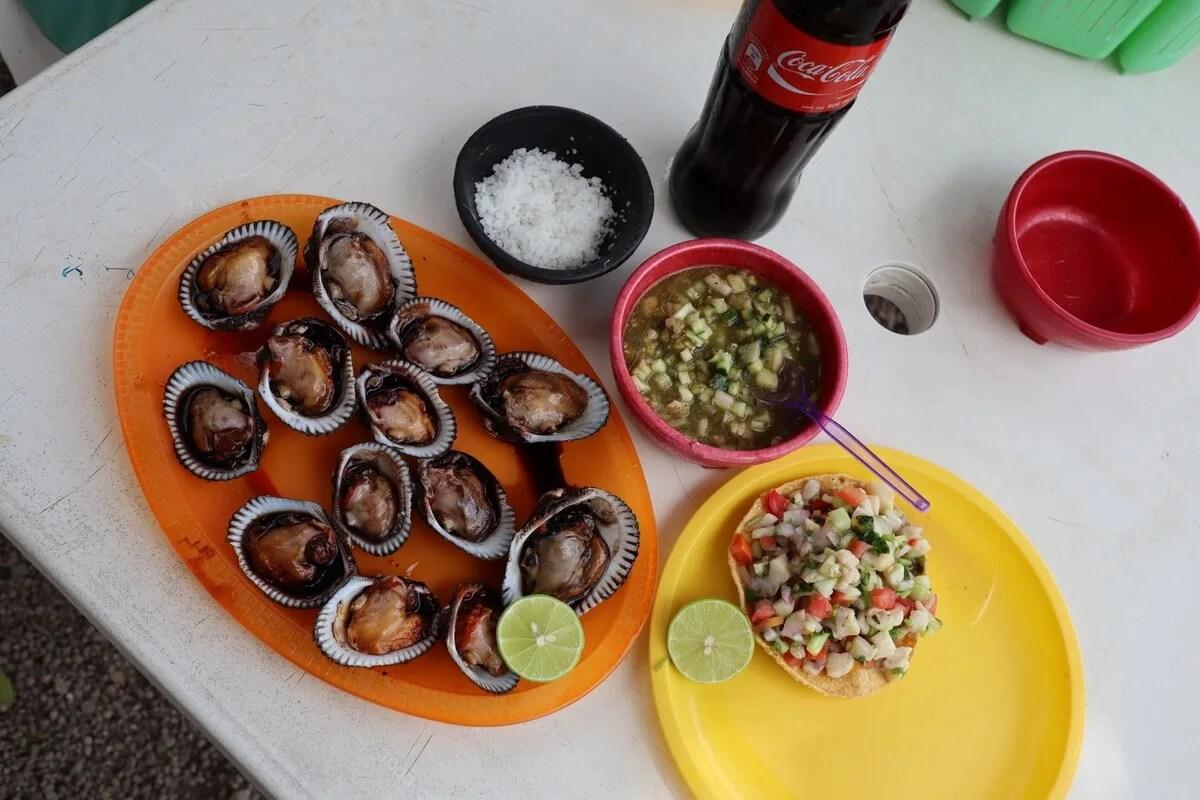 A dozen pata de mula clams and a shrimp ceviche tostada