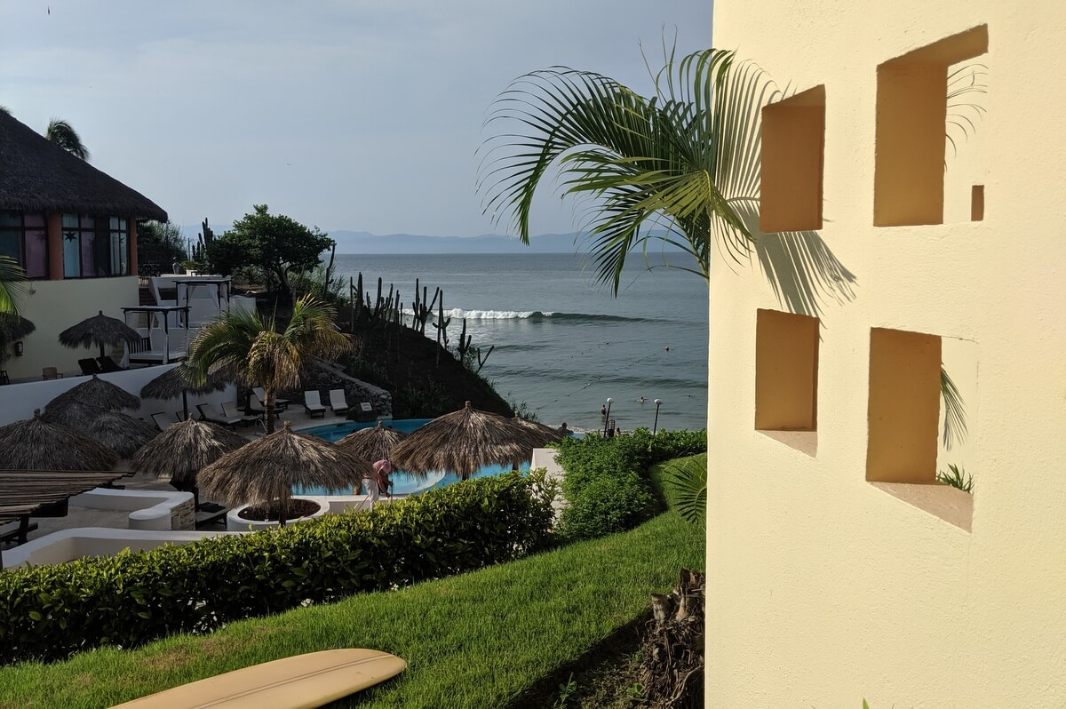 View of Punta Burros Surf Spot from our room at the the Palladium Hotel