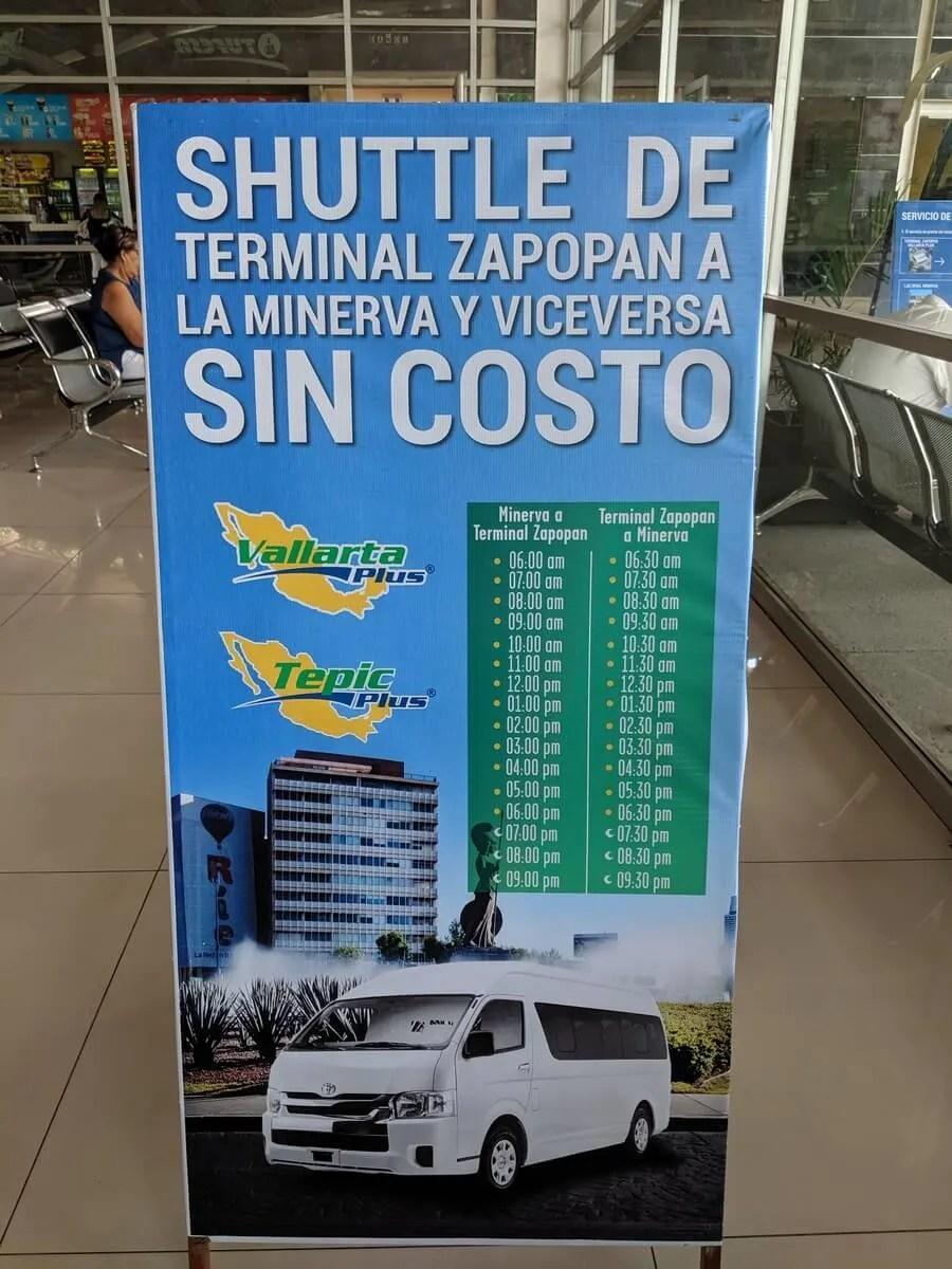 Glorieta Minerva shuttle to Vallarta Plus Bus terminal