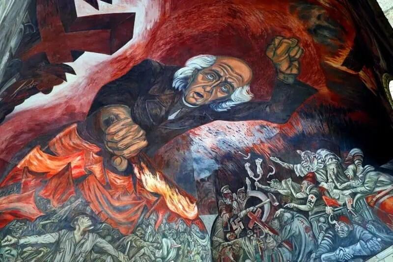Jose Clemente Orozco mural in the Palacio de Gobierno de Jalisco
