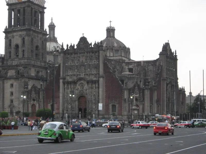 Driving in Mexico City's Zócalo main square.
