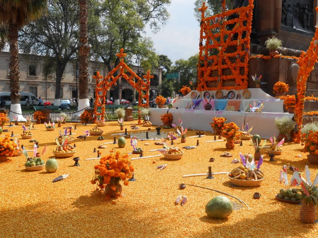 Day of the dead decorations in a traffic circle in Downtown Morelia, Michoacan