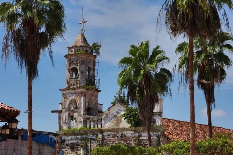The old church in the plaza of San Blas Nayarit