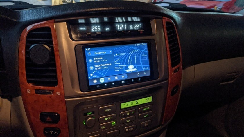 Android auto stereo head unit with navigation and backup camera.