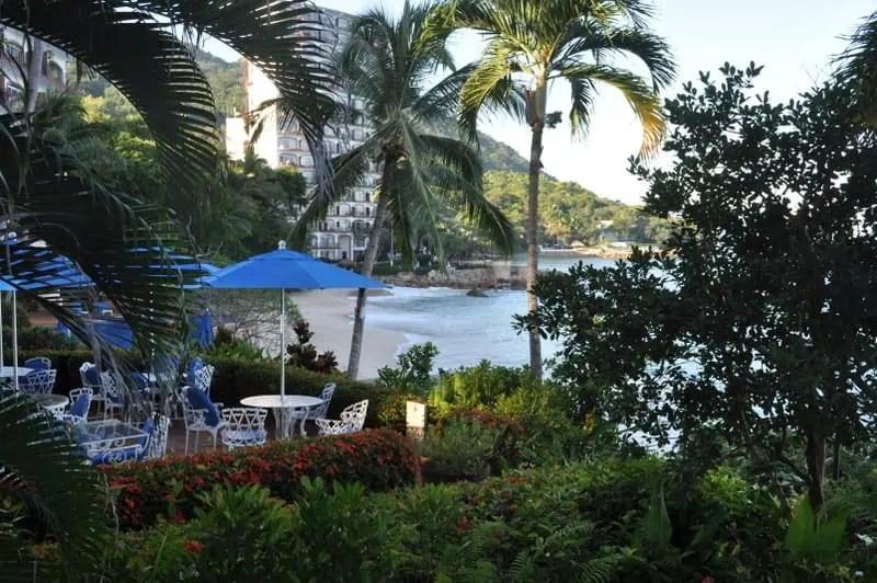 Playas Gemelas Condominiums patio overlooking the beach south of Puerto Vallarta