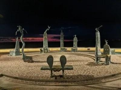 Alejandro Colunga sculptures on the beach boardwalk in Puerto Vallarta