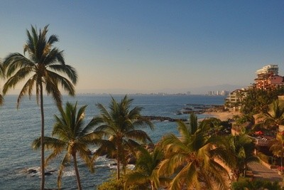 Conchas Chinas beach and palm trees looking north to Puerto Vallarta