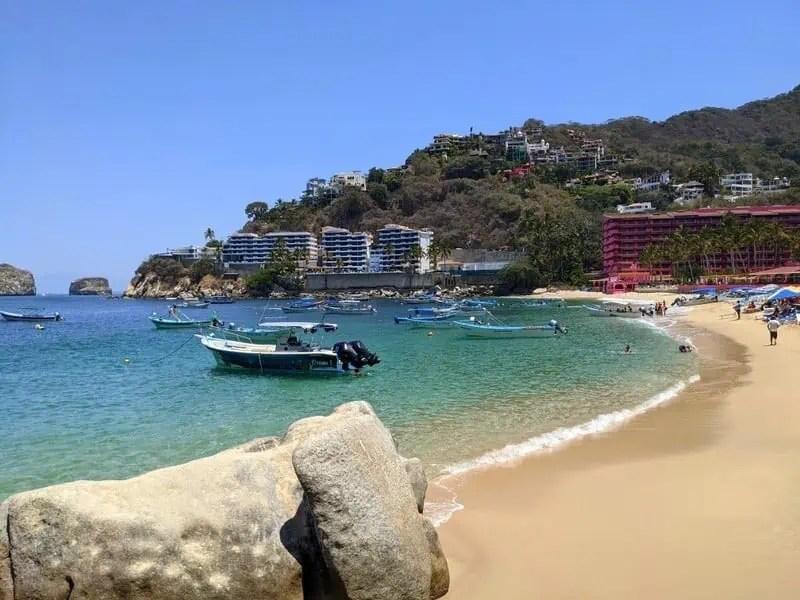 Boats on Mismaloya Beach south of Puerto Vallarta