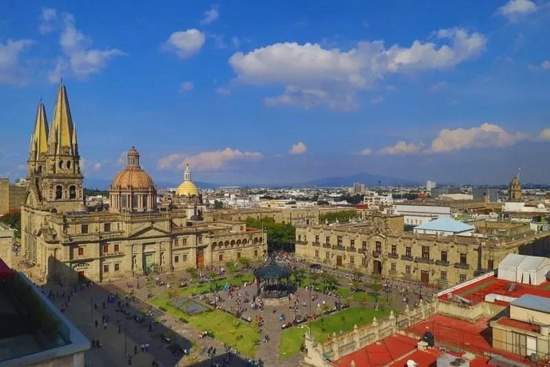 Plaza de Armas and Guadalajara Metropolitan Cathedral in Jalisco, Mexico