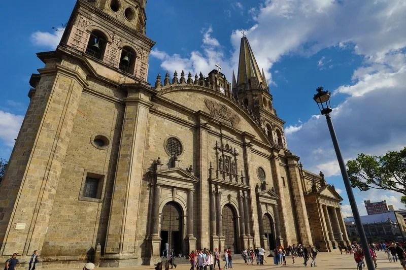 The Guadalajara Metropolitan Cathedral on a bright sunny day