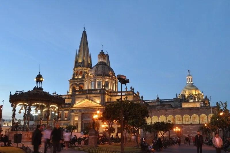 Guadalajara Metropolitan Cathedral from the Plaza de Armas