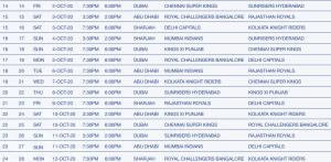 IPL 2020 season schedule