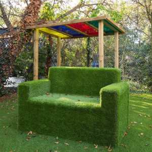 artificial grass sofa, Playcubed, Valley Provincial, Primary school playground, playground installation, playground construction, bespoke playground design, playground equipment, playground surfacing, playground seating