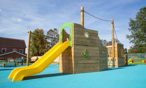 barge, Playcubed, Valley Provincial, Primary school playground, playground installation, playground construction, bespoke playground design, themed play area, playground equipment, playground activity frame, playground surfacing