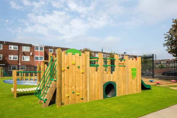 castle, Playcubed, Valley Provincial, Primary school playground, playground installation, playground construction, bespoke playground design, themed play area, playground equipment, playground activity frames