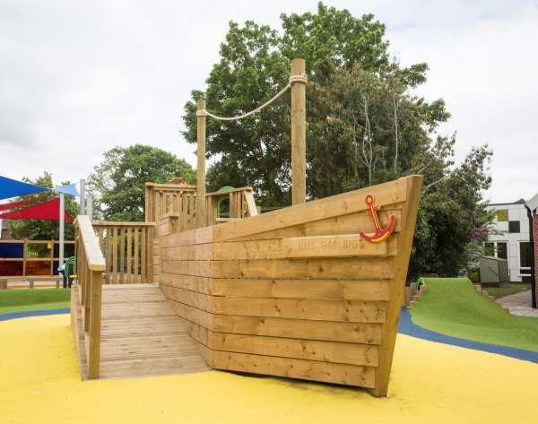 galleon, Playcubed, Valley Provincial, Primary school playground, playground installation, playground construction, bespoke playground design, themed play area, playground equipment, playground landscaping