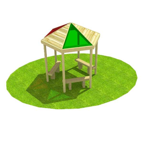 sensory hex shelter, Playcubed, Valley Provincial, Primary school playground, playground installation, playground construction, bespoke playground design, playground equipment, playground shelter, sensory play, primary school sensory garden