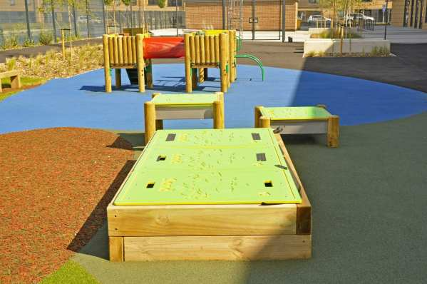 sleeper sand pit, school sand play, Playcubed, Valley Provincial, Primary school playground, playground installation, playground construction, bespoke playground design, playground equipment, sensory play