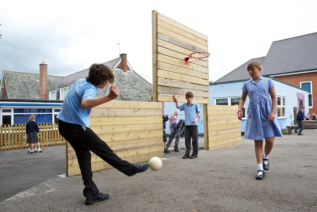 Lack of physical activity, timber ball wall, ball games, Playcubed, Valley Provincial, Primary school playground, recreation area, playground installation, playground construction, bespoke playground design, playground equipment, inclusive play