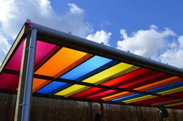 playground canopy, Timber rainbow canopy, Playcubed, Valley Provincial, Primary school playground, playground installation, playground construction, playground shelter