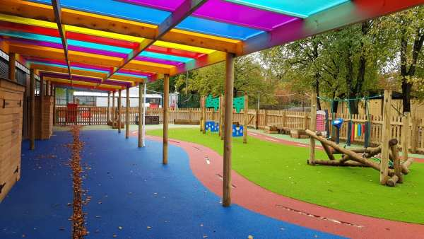 shelters for playgrounds, school wet play, playground canopy, Timber rainbow canopy, Playcubed, Valley Provincial, Primary school playground, playground installation, playground construction, playground shelter, playground surfacing