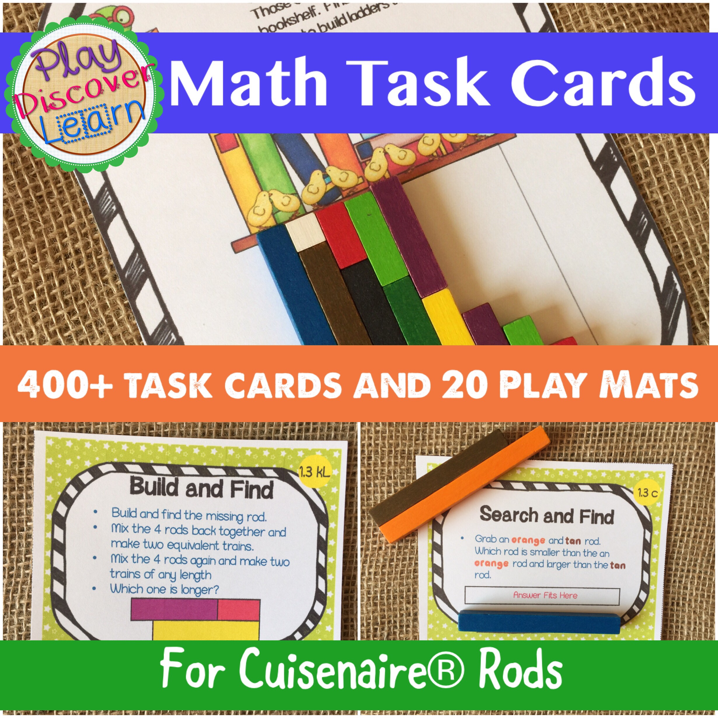Math task cards for cuisenaire rods