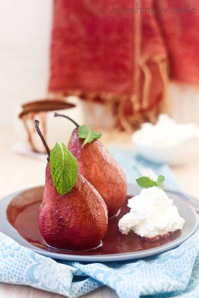 Wine poached Pear with Chocolate and Mint sauce 1