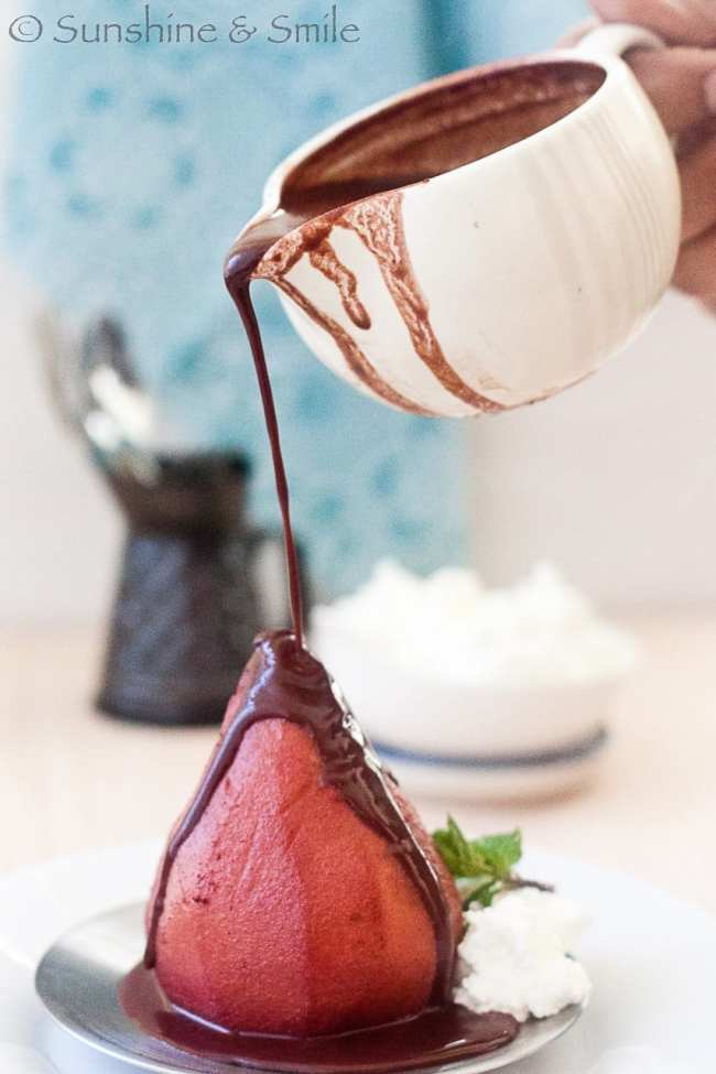 Wine poached Pear with Chocolate and Mint sauce 5