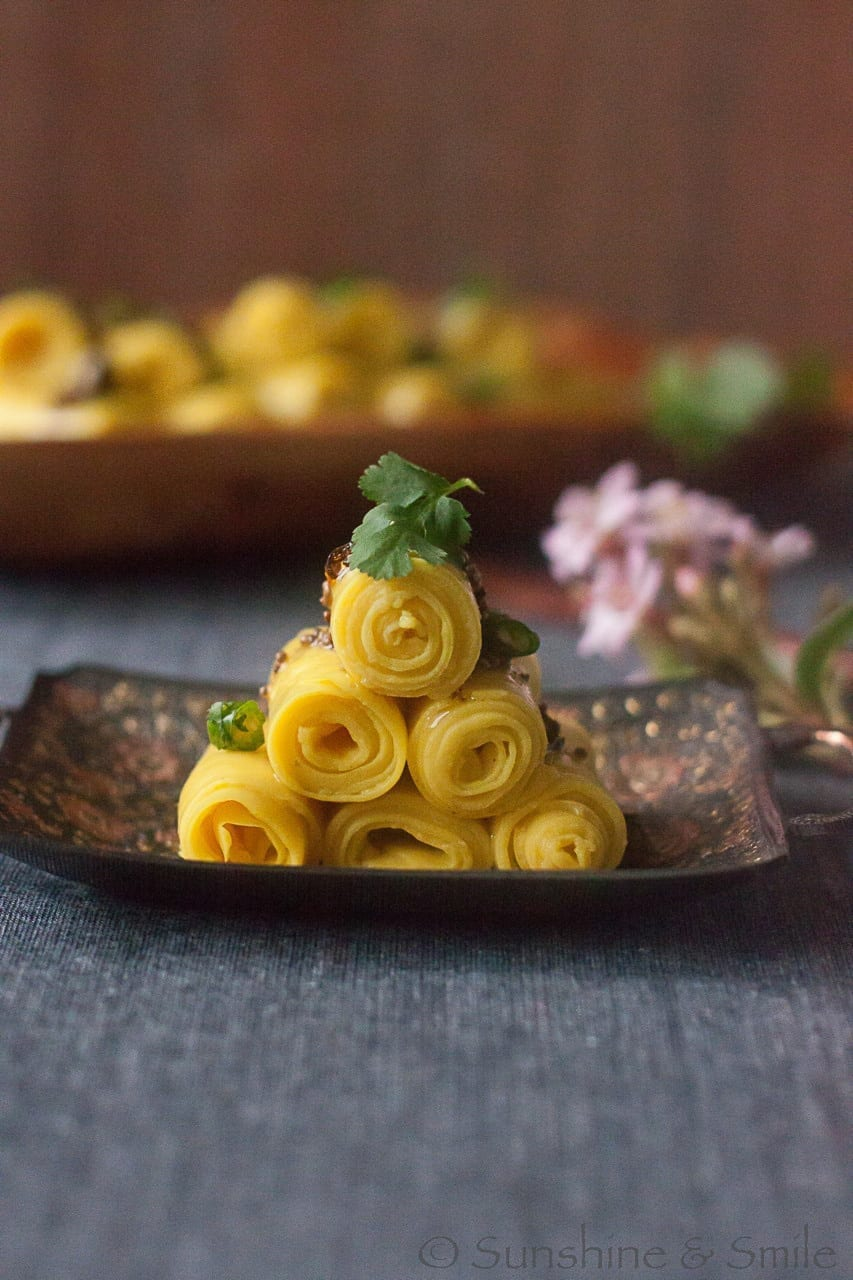 Khandvi (A healthy finger food from India) - Guest Post for Tamara @ Bite My Cake 5
