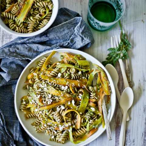pasta with shaved carrots and carrot green sauce | Playful Cooking