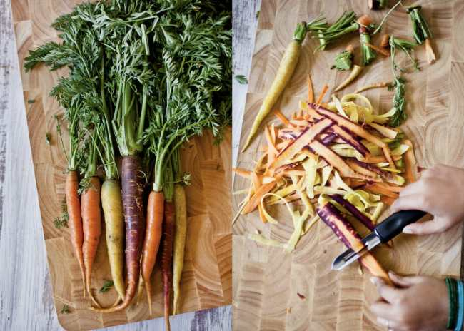 shaving spring carrots | Playful Cooking