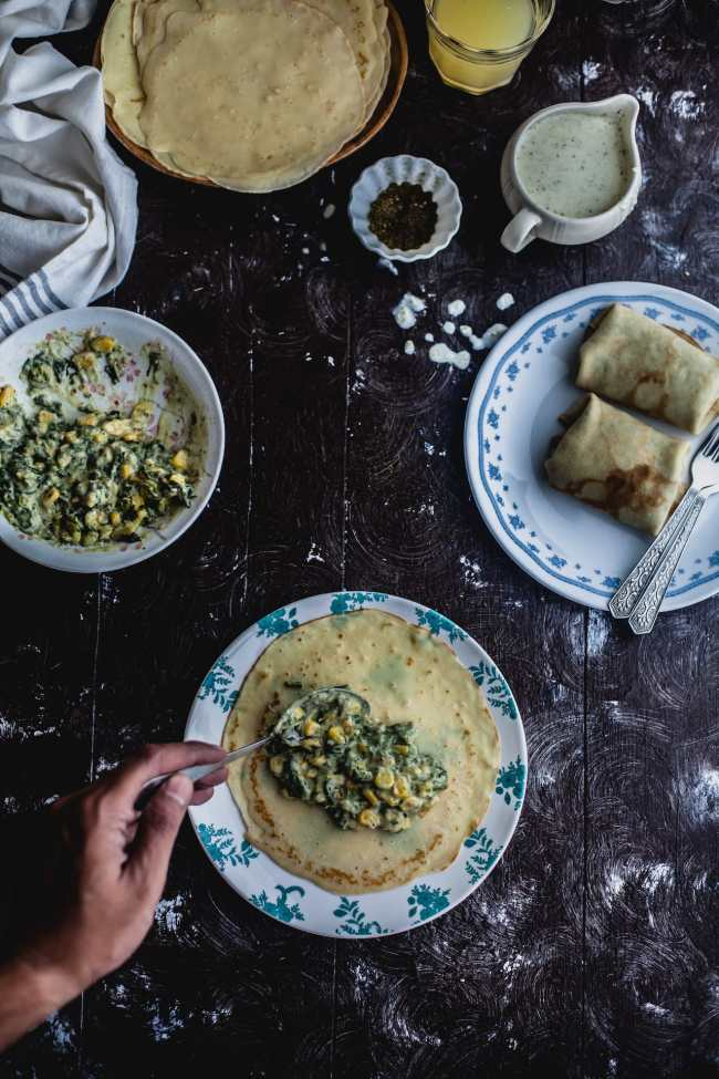 Spinach Corn Crepe With Zaatar Feta Sauce | Playful Cooking