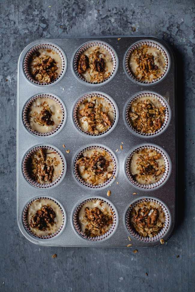 Banana Granola Toasted Walnut Breakfast Muffins | Playful Cooking