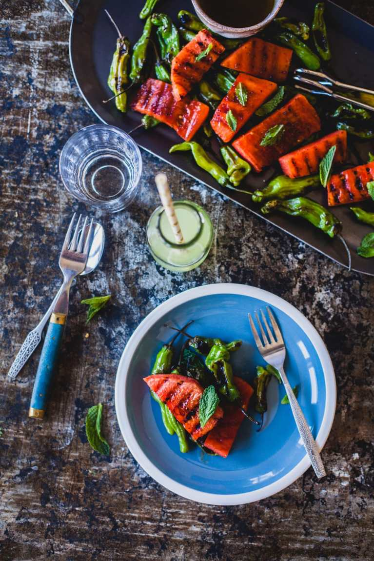 Grilled Watermelon and Shishito Peppers | Playful Cooking