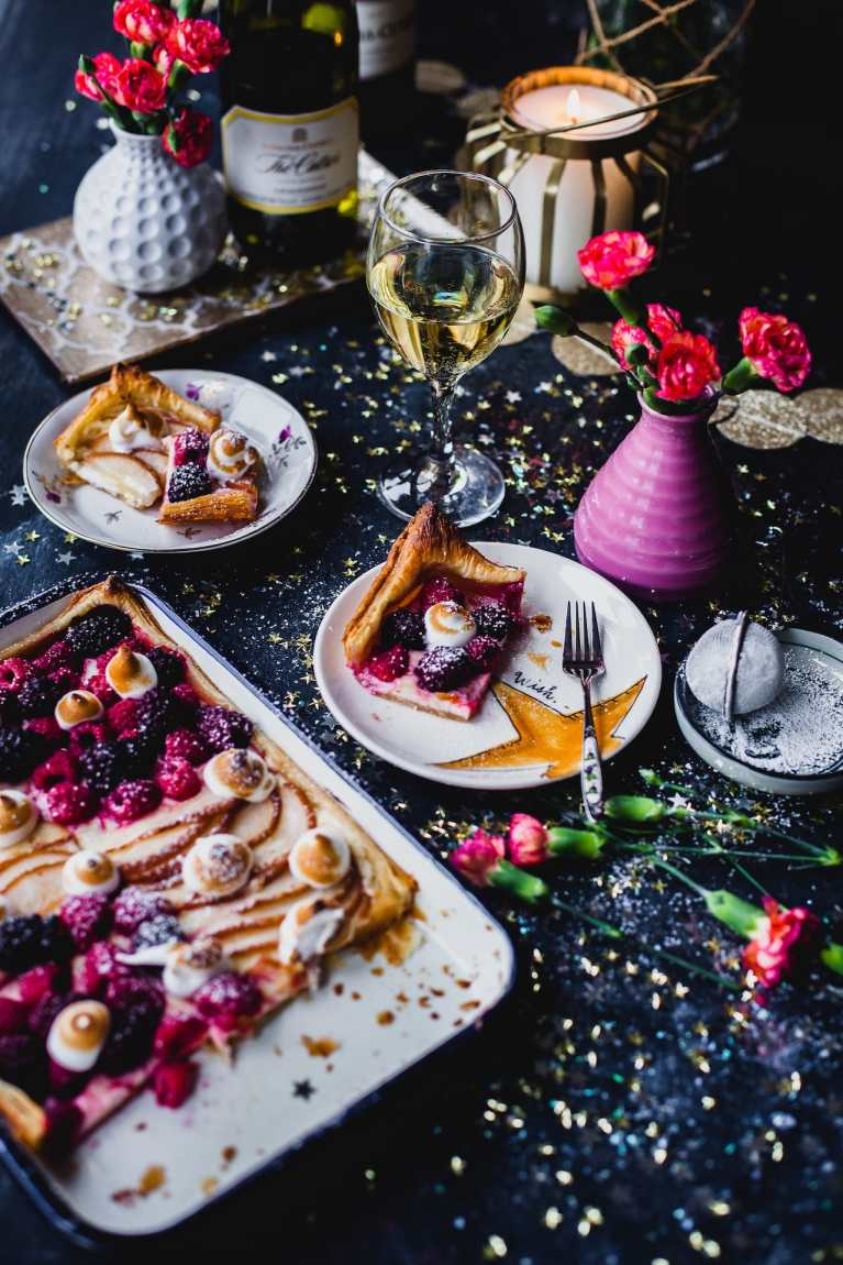 Festive vibe in the photo with a wine pairing dessert
