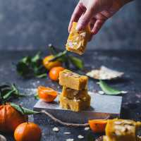 Santra Badam Barfi (Orange Almond Fudge) | Playful Cooking