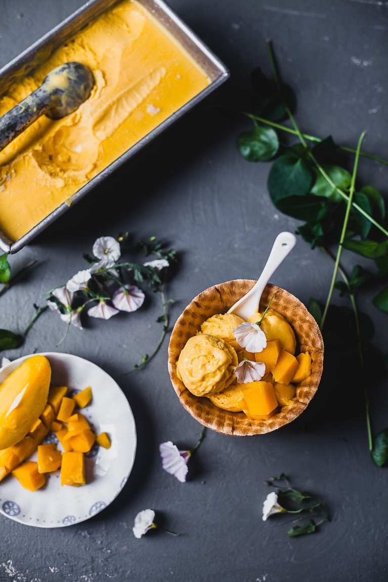 Mango Cardamom No-Churn Ice Cream | Playful Cooking