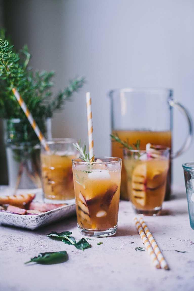 Grilled Nectarine Rosemary Iced Tea 6