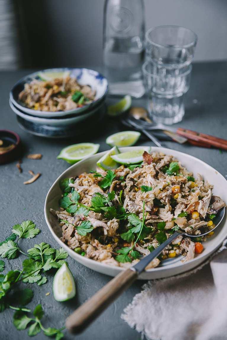 Mushroom Chicken Spiced Cauliflower Fried Rice | Playful Cooking #friedrice #rice #cauliflower #foodphotography #weeknight #keto #glutenfree
