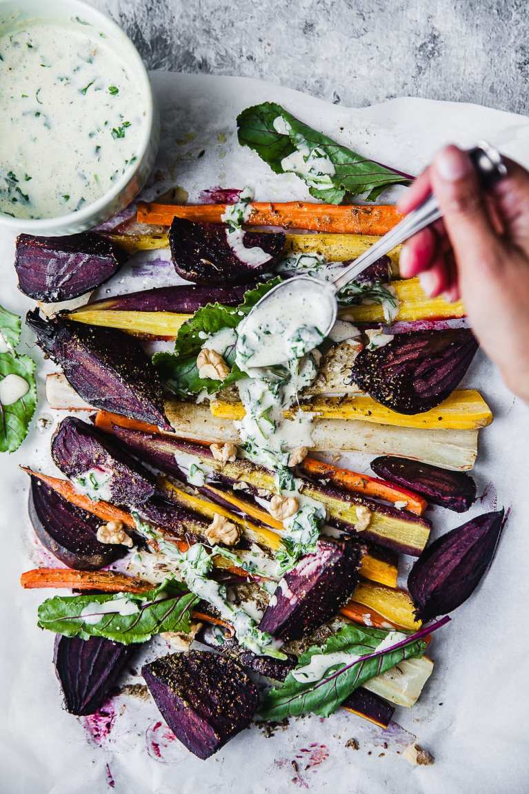 Spring time salad with roasted veggie.. Beautiful array of colors | Playful Cooking #roasted #vegetables #salad #spring #beetroot #carrot #foodphotography