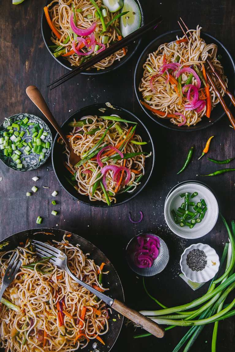 Flat lay view of the Vegetable Chow Mein