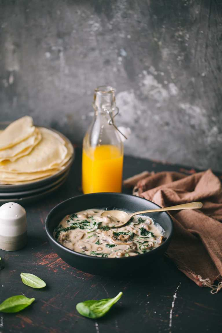 Mushroom And Spinach Crepes 4