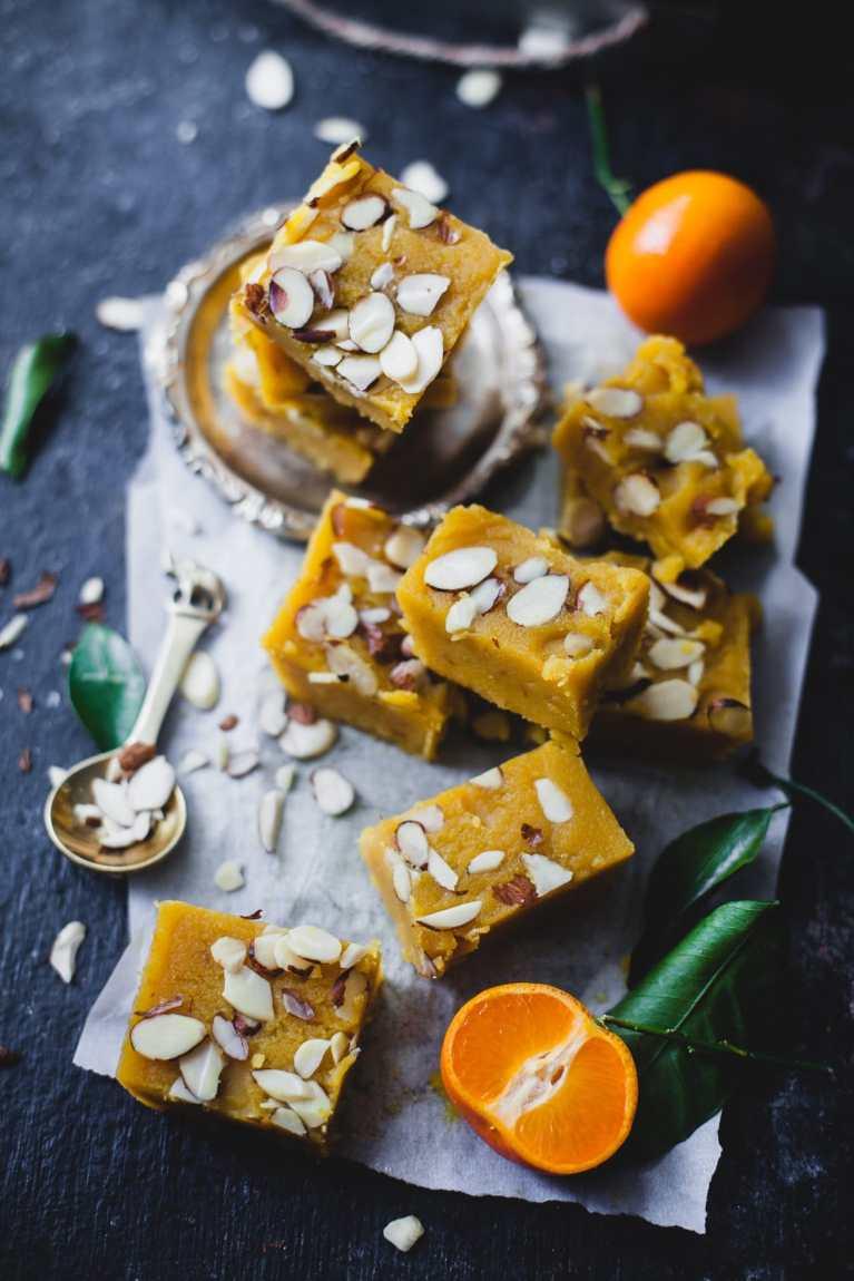 Santra Badam Barfi (Orange Almond Fudge) 2