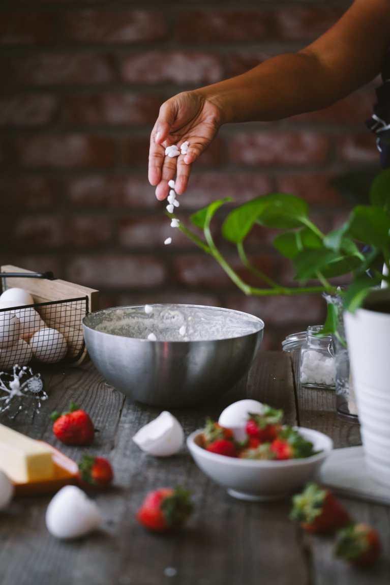 Sprinkle belgian pearl sugar into the batter
