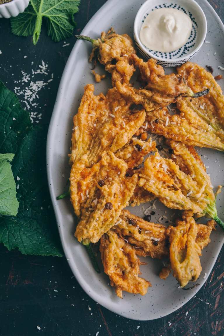 CLOSE UP view of cripsy Zucchini Blossom Fritters