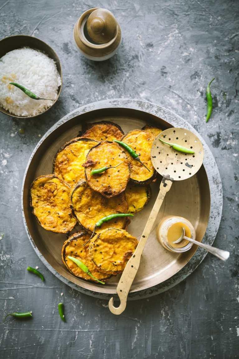 Bengali style fried eggplant