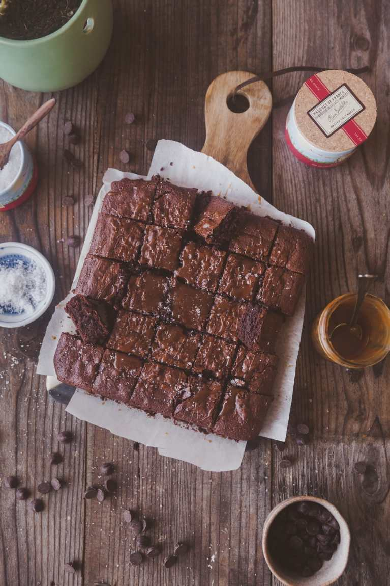 Fudgy Brownie with salted caramel