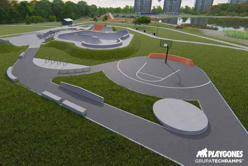 Aire sportive avec un skatepark en 3D