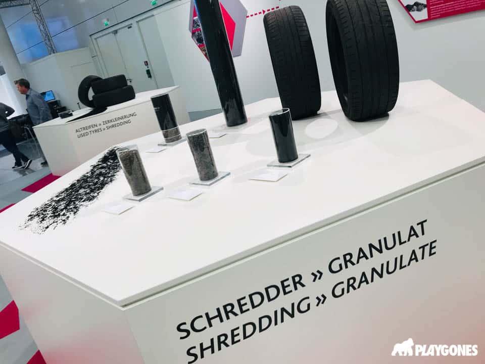 Exposition sur le recyclage des pneus en granulat SBR